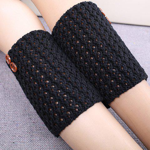 Pair of Chic Button Embellished Diagonal Crochet Women's Knitted Boot Cuffs - BLACK