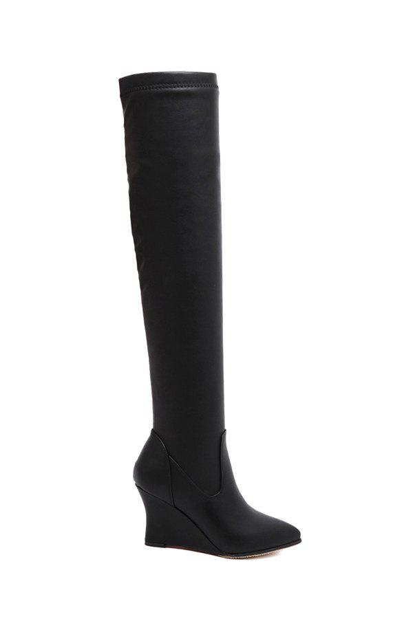 Trendy Wedge Heel and Pointed Toe Design Women's Thigh High Boots - BLACK 36