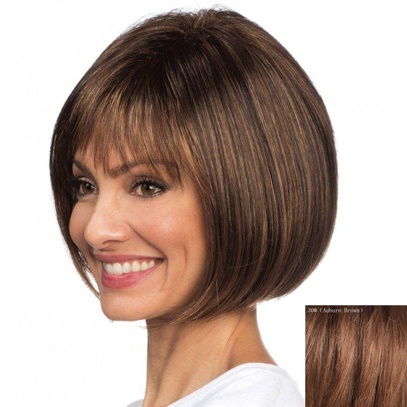 Trendy Short Bob Style Straight Elegant Neat Bang Capless Real Natural Hair Wig For Women - AUBURN BROWN