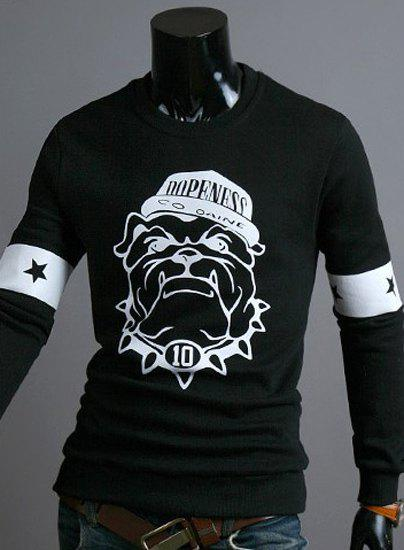 Funny Cartoon Animal Mangy Dog Print Color Block Round Neck Long Sleeves Men's Sweatshirt - BLACK XL