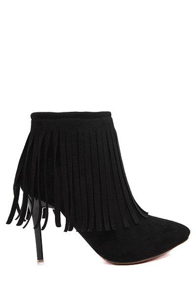 Sexy Fringe and Pointed Toe Design Women's Short Boots - BLACK 38