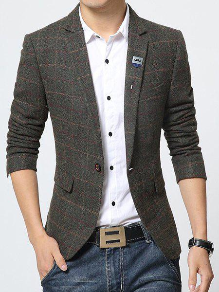 Lapel Printed Lining Stylish Long Sleeve Checked Slimming Men's Blazer - ARMY GREEN 3XL