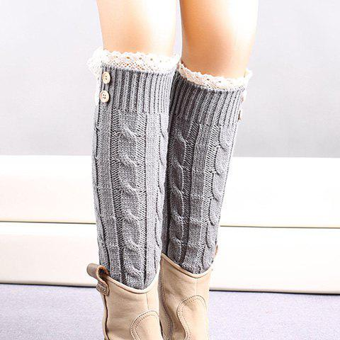 Pair of Chic Button Lace Embellished Hemp Flowers Women's Knitted Leg Warmers - GRAY