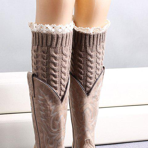 Pair of Chic Lace Edge Hemp Flowers Women's Knitted Leg Warmers
