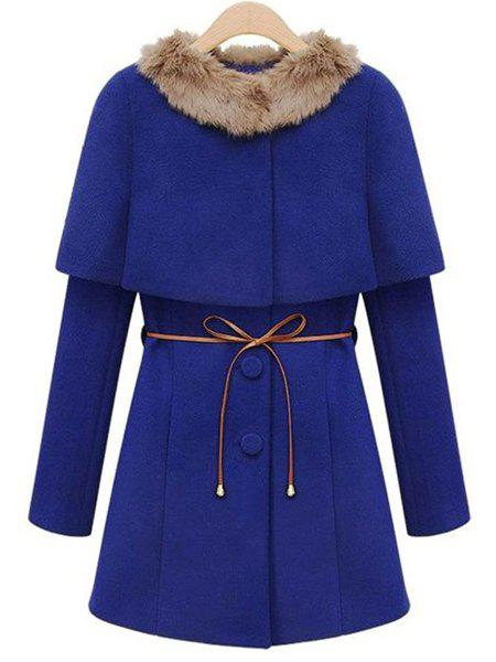 Chic Long Sleeve Convertible Neck Button Design Women's Coat