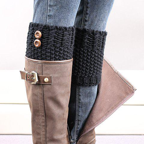 Pair of Chic Button Embellished Crochet Women's Knitted Boot Cuffs - BLACK