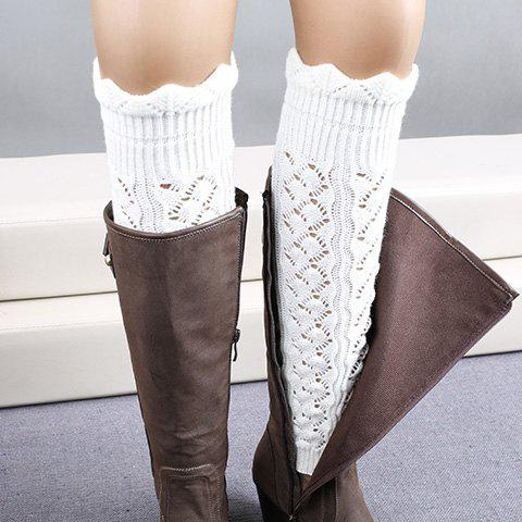 Pair of Chic Wavy Edge Hollow Out Women's Knitted Leg Warmers - WHITE