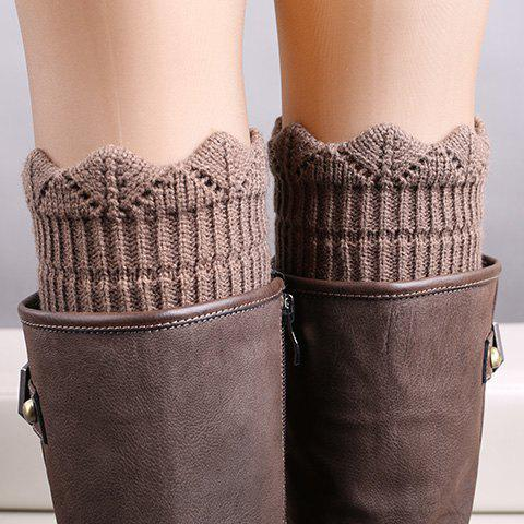 Pair of Chic Wavy Edge Hollow Out Women's Knitted Leg Warmers - DARK KHAKI