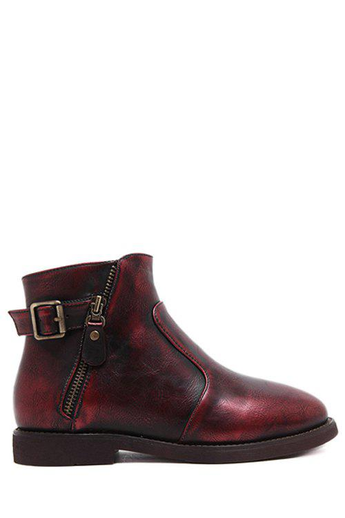 Vintage Zipper and Buckle Design Women's Short Boots - RED 36
