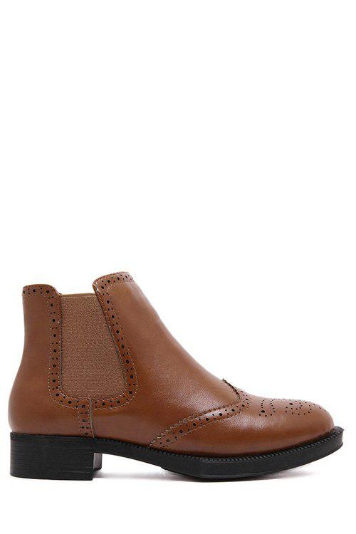 Retro Elastic and Engraving Design Women's Short Boots - BROWN 35