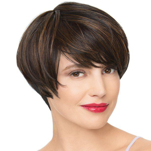 Boutique Natural Straight Oblique Bang Mixed Color Short Synthetic Wig For Women - COLORMIX