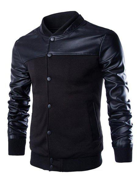 Vogue PU Leather Spliced Rib Hem Patch Pocket Stand Collar Long Sleeves Men's Fitted Jacket