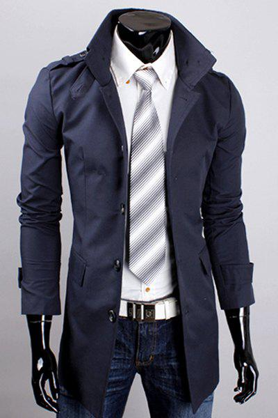 Hot Sale Multi-Button Patch Pocket Epaulet Design Stand Collar Long Sleeves Men's Trench Coat - CADETBLUE M