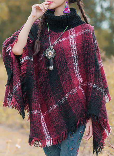 Stylish Turtleneck Long Sleeve Plaid Asymmetrical Fringed Women's Cape - WINE RED ONE SIZE(FIT SIZE XS TO M)
