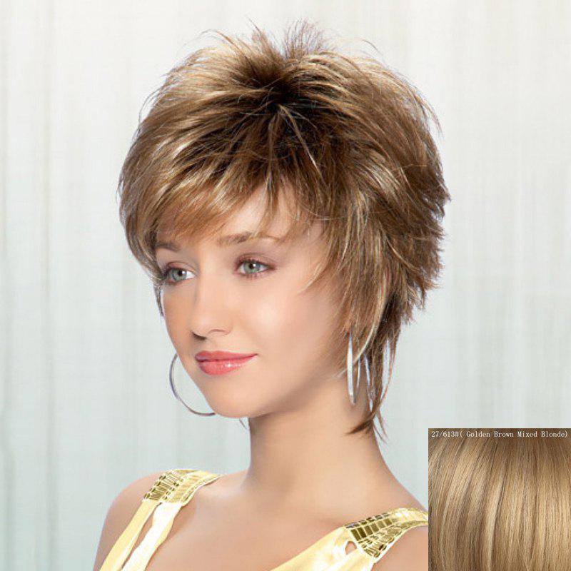 Fluffy Wavy Ladylike Inclined Bang Spiffy Short Women's Capless Real Natural Hair Wig - GOLDEN BROWN/BLONDE