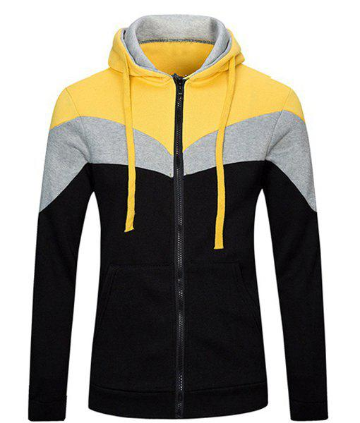 Casual Drawstring Hooded Color Lump Spliced Front Pocket Long Sleeves Men's Fitted Hoodie
