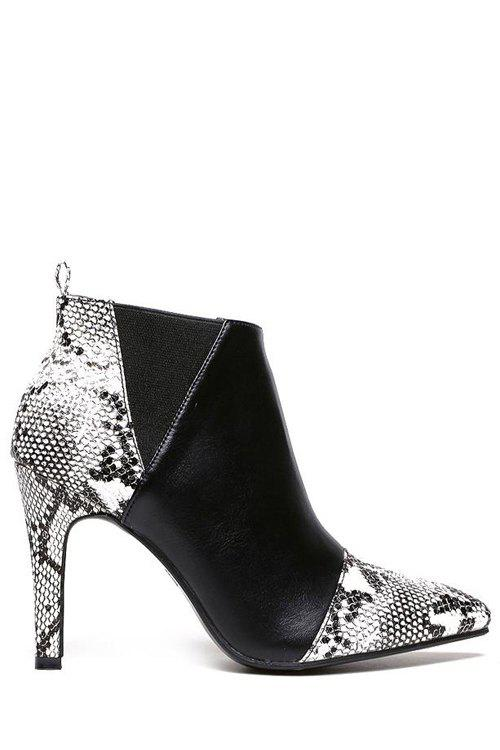 Sexy Snake Print and Elastic Design Women's Ankle Boots