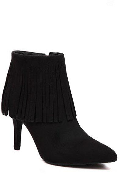 Elegant Fringe and Pointed Toe Design Women's Short Boots