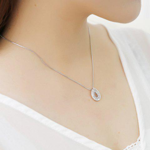 Stylish Faux Crystal Water Drop Necklace For Women - SILVER