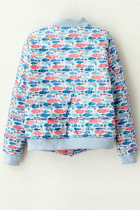 Stylish Stand Neck Long Sleeve Full Fish Print Women's Jacket - BLUE M
