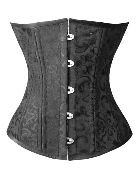 Stylish Women's Underbust Jacquard Steel Boned Corset - BLACK M