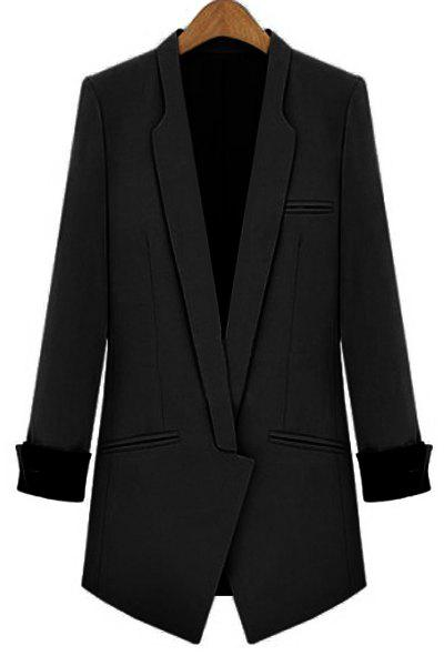 Charming Lapel Long Sleeve Sheathy Blazer For Women - BLACK S
