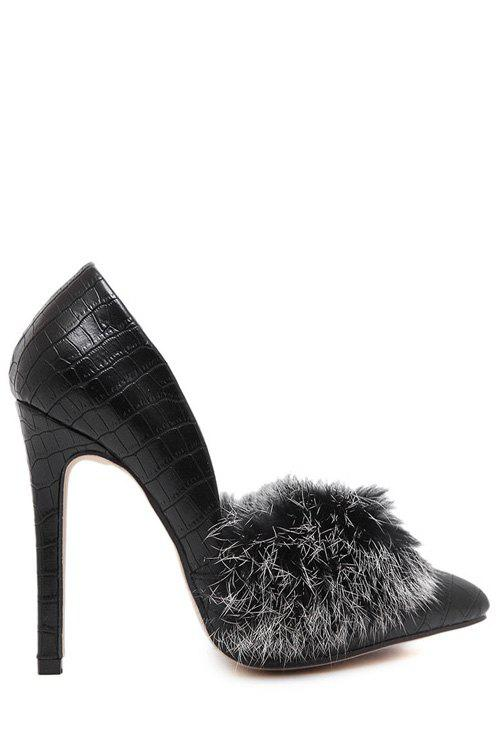 Trendy Faux Fur and Stone Pattern Design Women's Pumps