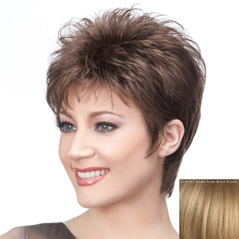 Graceful Short Haircut Capless Stylish Side Bang Fluffy Straight Human Hair Wig For Women - GOLDEN BROWN/BLONDE
