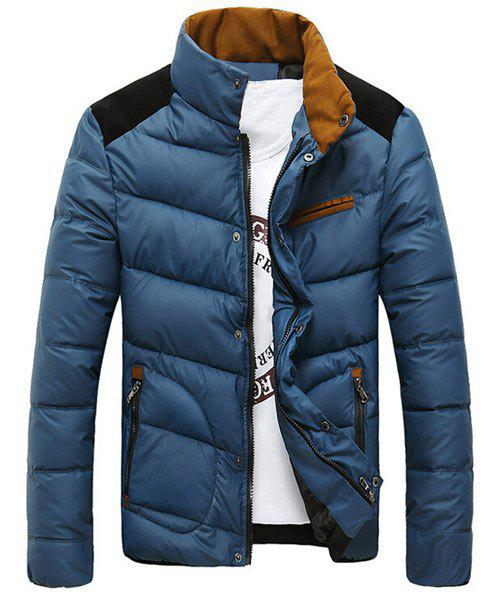 Edging Splicing Design Stand Collar Long Sleeve Slimming Men's Cotton-Padded Jacket - CADETBLUE 3XL