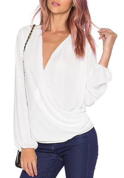 Sexy Long Sleeve Plunging Neck Solid Color Chiffon Women's Blouse - WHITE XL