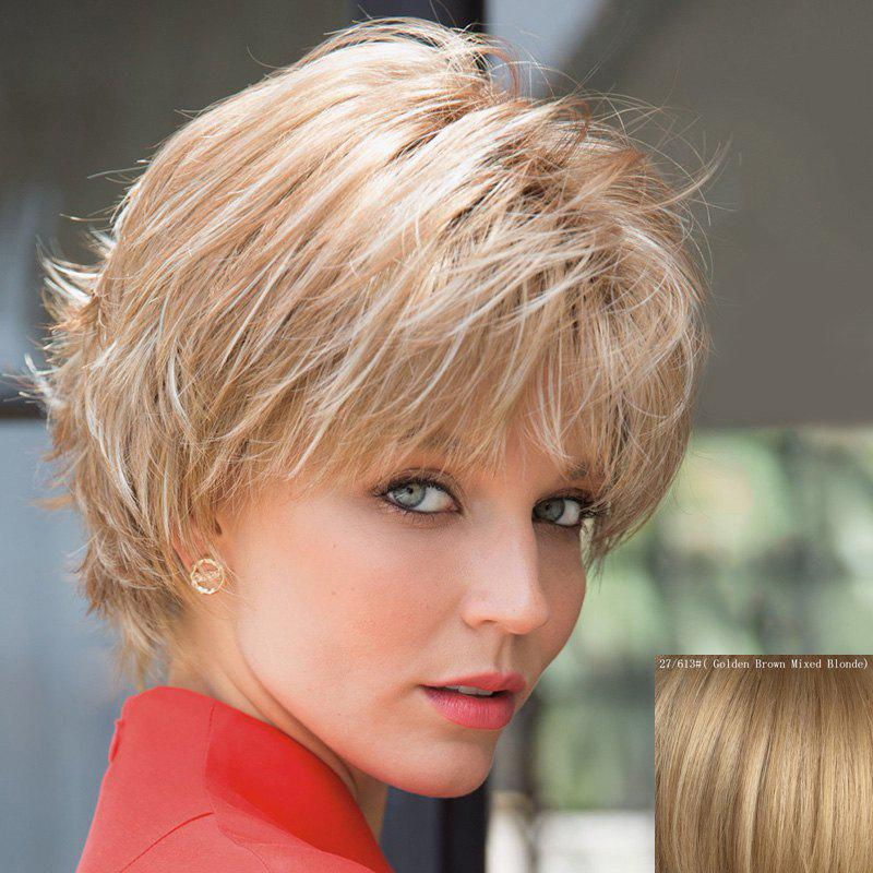 Shaggy Natural Wavy Stunning Short Nobby Full Bang Women's Capless Human Hair Wig - GOLDEN BROWN/BLONDE
