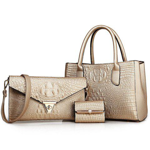 Charming Crocodile Print and PU Leather Design Tote Bag For Women - GOLDEN