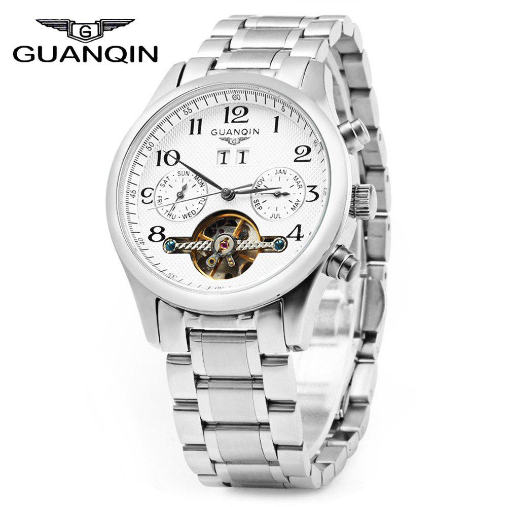 GUANQIN Men Calendar Tourbillon Automatic Mechanical Watch with Leather Band 3ATM Water Resistant Two Working Sub-dials - SILVER WHITE