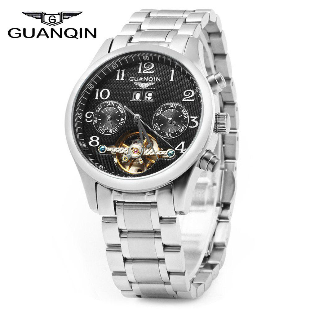 GUANQIN Men Calendar Tourbillon Automatic Mechanical Watch with Leather Band 3ATM Water Resistant Two Working Sub-dials - SILVER BLACK