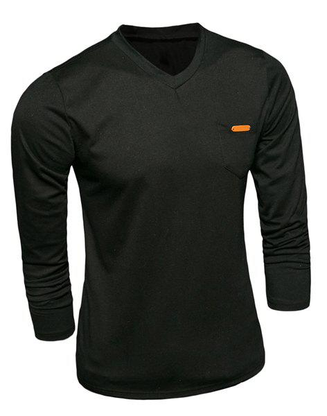 Pocket Splicing V-Neck PU-Leather Embellished Long Sleeve Men's T-Shirt - BLACK M