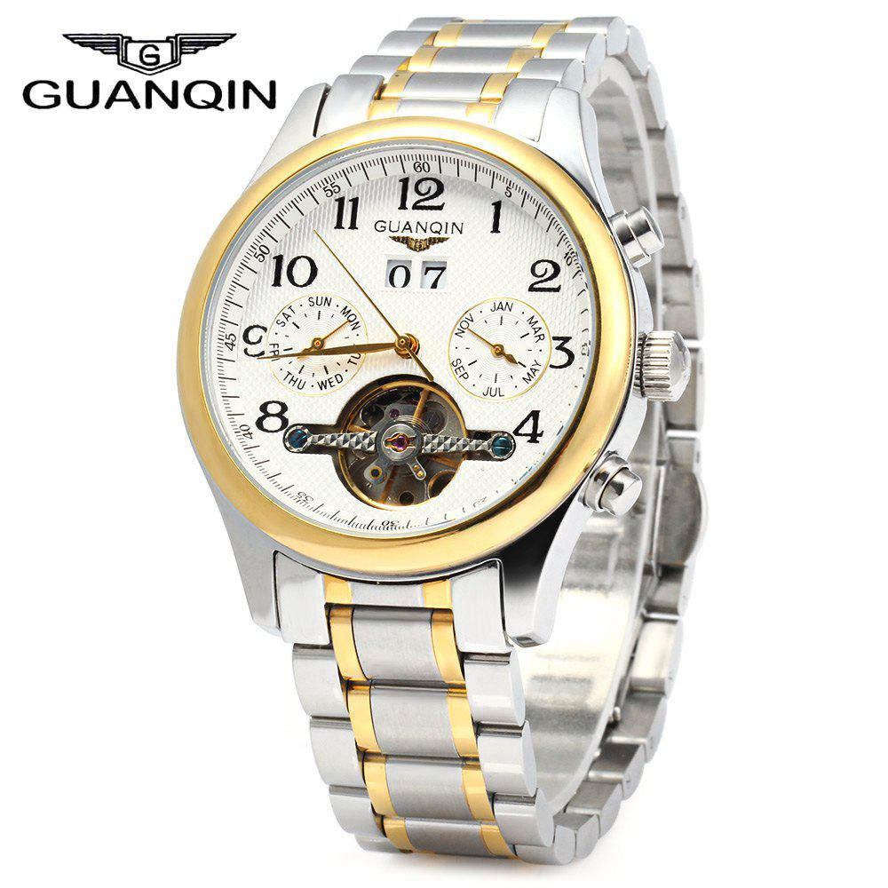 GUANQIN Men Calendar Tourbillon Automatic Mechanical Watch with Steel Band 10ATM Water Resistant Working Two Sub-dials