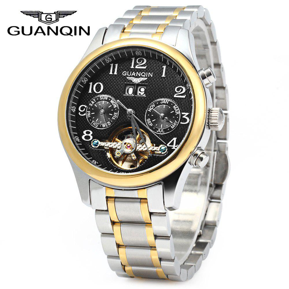 GUANQIN Men Calendar Tourbillon Automatic Mechanical Watch with Leather Band 3ATM Water Resistant Two Working Sub-dials - GOLDEN BLACK