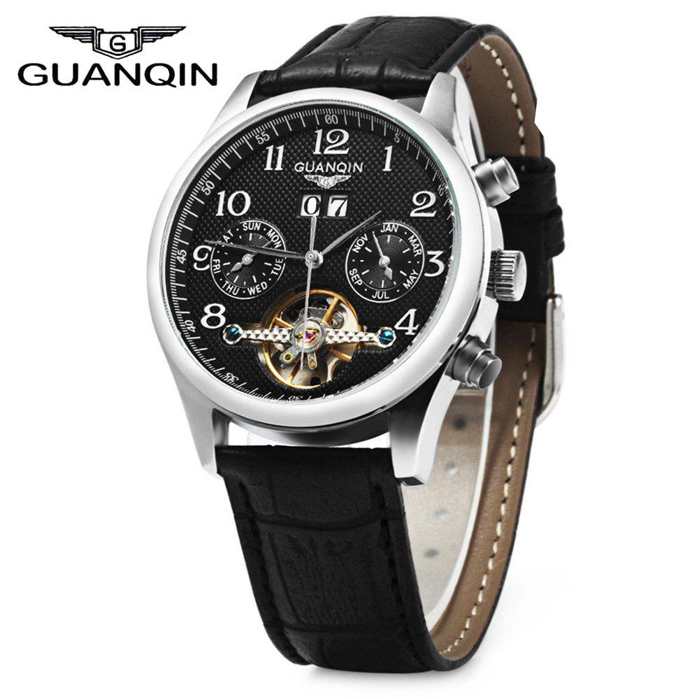 GUANQIN Men Calendar Tourbillon Automatic Mechanical Watch with Leather Band 3ATM Water Resistant Two Working Sub-dials - BLACK SILVER BLACK
