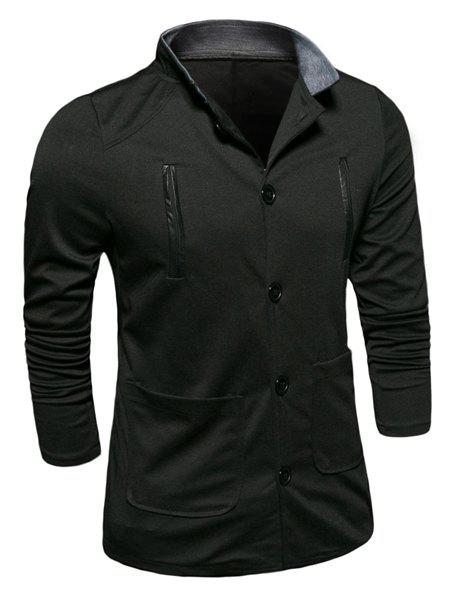 Edging Stand Collar Long Sleeve Pockets Men's Cotton Jacket - BLACK XL