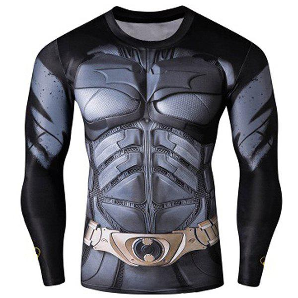 Quick dry skinny cool 3d batman pattern round neck long for Long sleeve cooling mens shirts