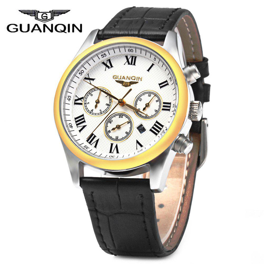 GUANQIN Men Leather Band Calendar Quartz Watch 10ATM Water Resistant with Three Moving Sub-dials - BLACK GOLDEN WHITE