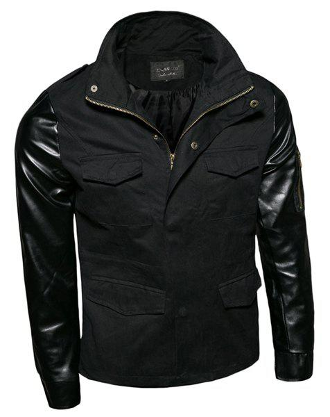 Zipper Design Stand Collar Long Sleeve Slimming PU-Leather Splicing Men's Jacket - BLACK M