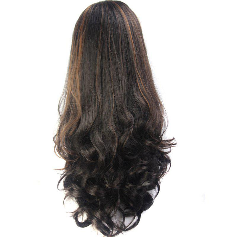 Shaggy Wave Vogue Brown Highlight Elegant Long Capless Synthetic Women's Half Wig - COLORMIX