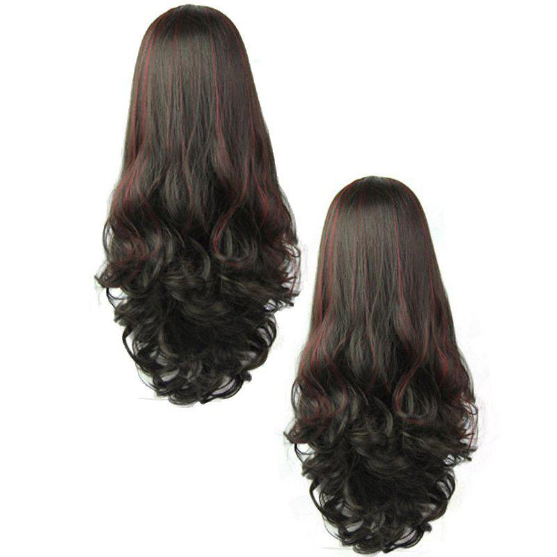Fluffy Wavy Capless Trendy Long Synthetic Graceful Wine Red Highlight Half Wig For Women - COLORMIX