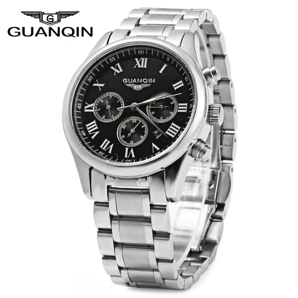 GUANQIN Men Steel Band Calendar Quartz Watch 10ATM Water Resistant with Three Moving Sub-dials guanqin mens watches top brand luxury casual quartz watch men full steel auto date waterproof wristwatch relogio masculino