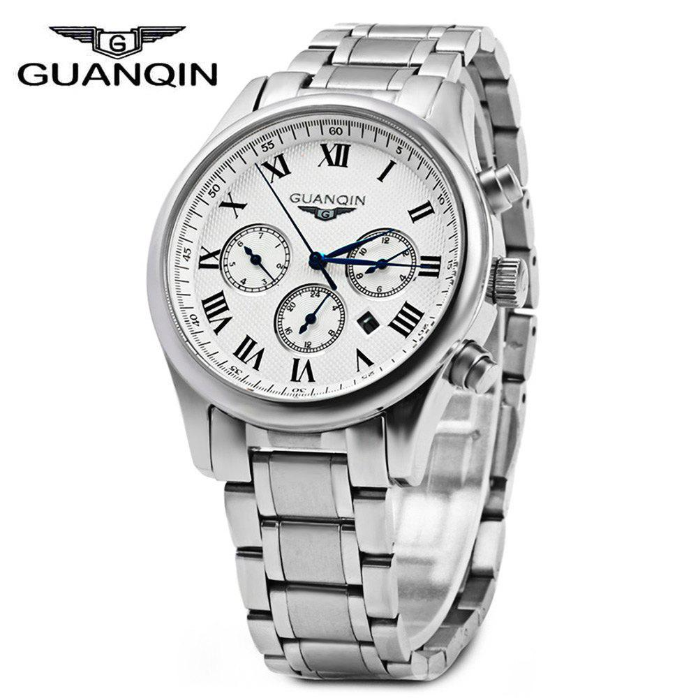 GUANQIN Men Steel Band Calendar Quartz Watch 10ATM Water Resistant with Three Moving Sub-dials - ROMAN SCALE WHITE