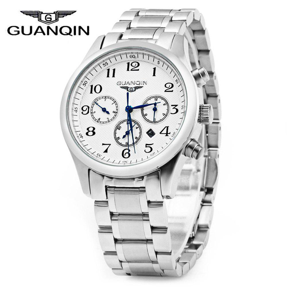 GUANQIN Men Steel Band Calendar Quartz Watch 10ATM Water Resistant with Three Moving Sub-dials - NUMERAL SCALE WHITE