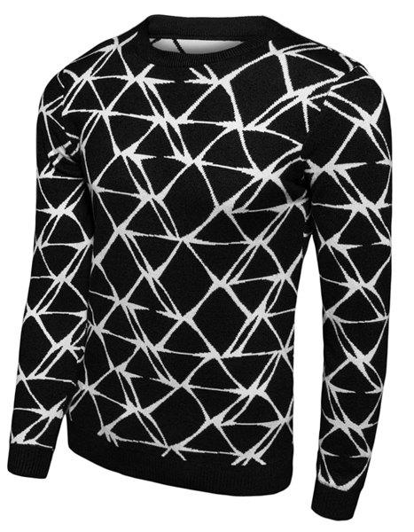 Round Neck Slimming Geometric Print Long Sleeve Men's Sweater geometric spliced print round neck long sleeve sweater