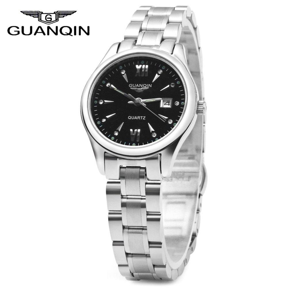 GUANQIN Women Calendar Rhinestone Luminous Quartz Watch with 30M Water Resistant