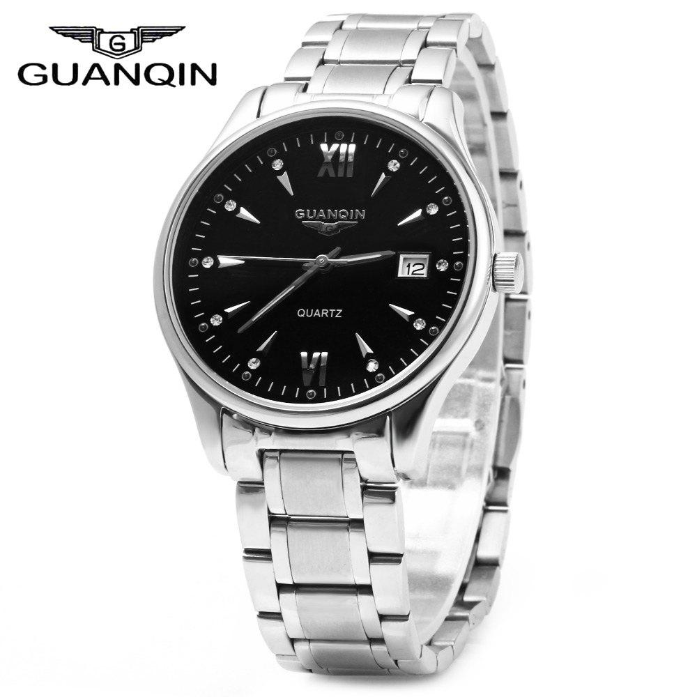 GUANQIN Men Calendar Rhinestone Luminous Quartz Watch with 30M Water Resistant
